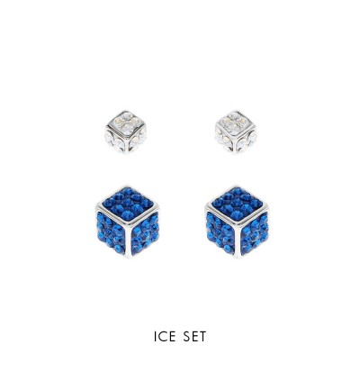 [Double-Double] Big & Small Cube EarStuds With Crystals From Swarovski®