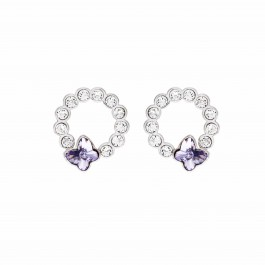 Butterfly Round Pierced Earring With Crystals From Swarovski®