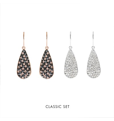 [Double-Double] Long Drop Dangling Earring With Crystals From Swarovski®