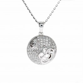 Twin Rose Pave Pendant With Crystals From Swarovski®