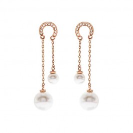 Double Dangling Earring With Crystal Pearls From Swarovski®