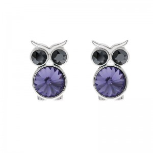 Owl Earring With Crystals From Swarovski®