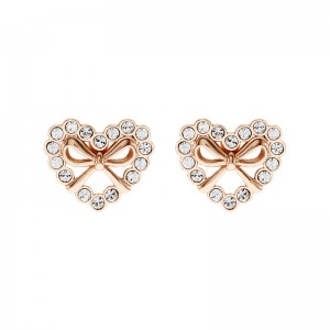 Ribbon Heart Earring With Crystals From Swarovski®