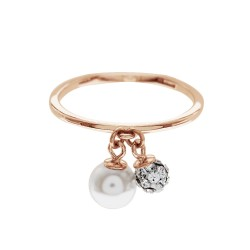 Double Ball Ring With Crystal Pearls From Swarovski®