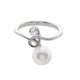 Twisted Ring With Crystal Pearls From Swarovski®