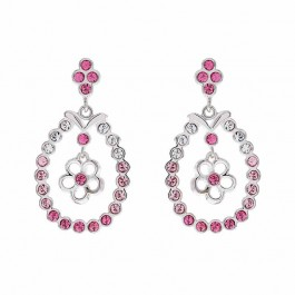 Floral Round Earring With Crystals From Swarovski®