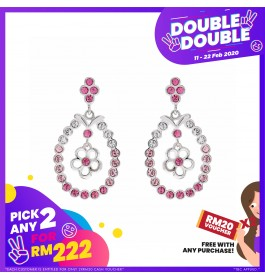 [Double-Double] Floral Round Earring With Crystals From Swarovski®