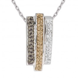 3 Line Layered Pendant With Crystals From Swarovski®