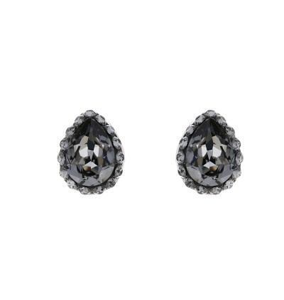Minimal Teardrop Stud Earring with Crystals From Swarovski®