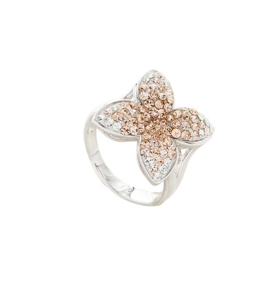 4 Petal Flower Ring with Crystals From Swarovski®