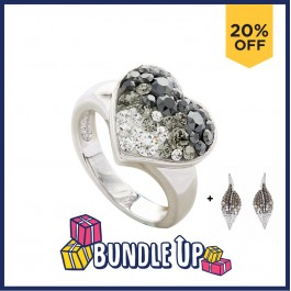 Funky Heart Ring with Crystals From Swarovski®