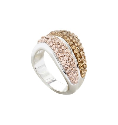 Double Wavy Ring with Crystals From Swarovski®