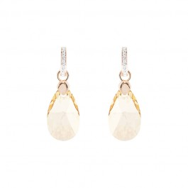 2 in 1 Drop Champagne Rose Gold Earrings with Crystals from Swarovski®