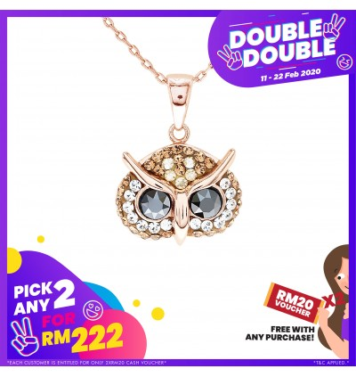 [Double-Double] Elegant Owl Pendant with Crystals from Swarovski®