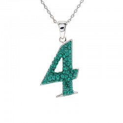 "Lucky No.""4""  Pendant with Crystals from Swarovski®"