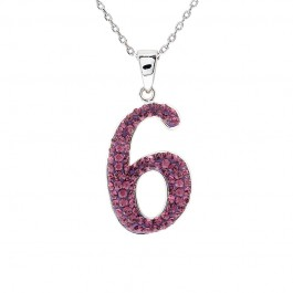 "Lucky No.""6""  Pendant with Crystals from Swarovski®"
