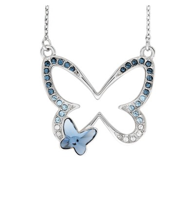 Delicate Double Butterfly Necklace With Crystals From Swarovski®