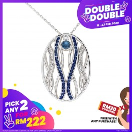 [Double-Double] Modern Twisted Line Oval Pendant With Crystals From Swarovski®