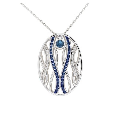 Modern Twisted Line Oval Pendant With Crystals From Swarovski®