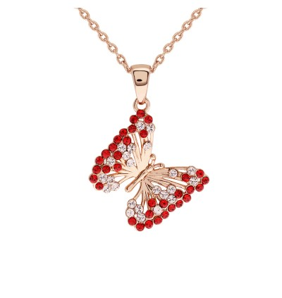 Elegant Butterfly Pave Pendant With Crystals From Swarovski®