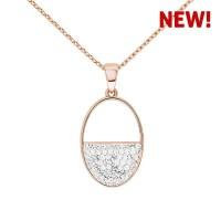 Minimalist Semi Oval Pendant with Crystals from Swarovski®