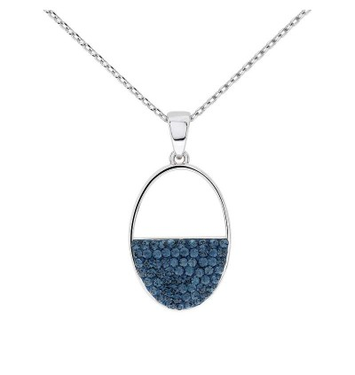 Minimalist Semi Oval Pendant with Crystals from Swarovski®