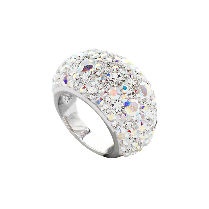 Elegant Classic Dome Ring With Crystals From Swarovski 174